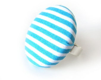 Large blue ring - big turquoise fabric ring - striped button ring -  summer ring - white winter bright adjustable
