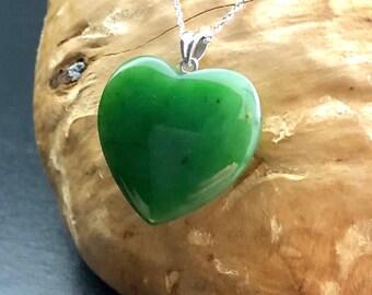 Canadian Jade Heart Pendant - 0576 - Green Jade - Natural Jade - Jade Necklace