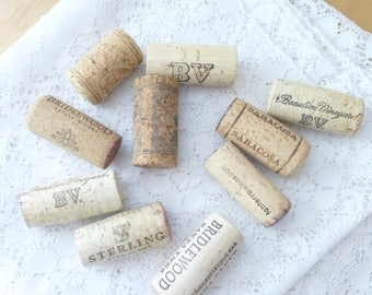 Wine corks for crafts, set of ten, different wine corks