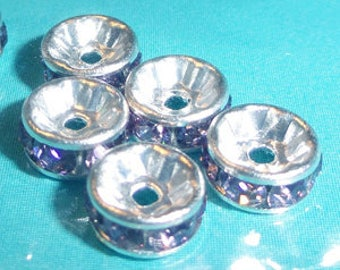 6pc - 6mm Swarovski Crystal Light Amethyst Rhinestone Round Rondelle Bead Spacers