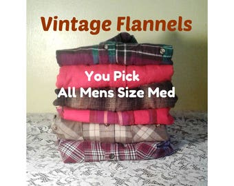 Vintage Flannel Shirt, Men's Medium Flannel, Plaid Flannel shirt, Plaid Shirt, Hipster Flannel - You PICK Flannel - ALL Mens Size Medium