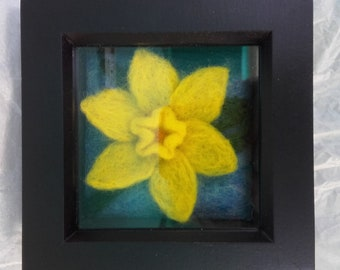 Needle felt 3D framed picture of daffodil in Springtime
