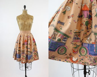 50s Millworth State Fair Skirt XS / 1950s Novelty Print Skirt Cotton / Country Fair Skirt