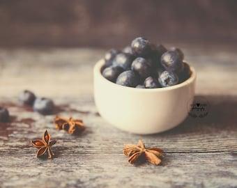 blueberry stilllife photo print - food fruit photo, wall art, blueberries, fruit art, food photograph, kitchen art, foodie, home decor, art