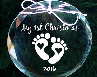 SHIPS NEXT DAY, Etched Babys First Christmas Ornament, Engraved Baby's First Christmas Ornament, Handmade Crystal Ornament, Premade - Cor012