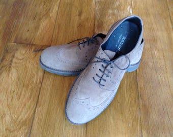 Men's Brown Suede Brogue Shoes Genuine Suede Casual Wingtip Oxford Shoes Men's Shoes Size EUR 43 UK 9