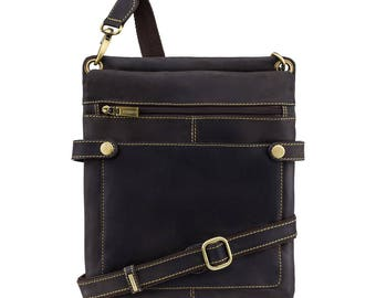 VISCONTI Slim Leather Bag - Distressed Brown Leather Bag - Cross Body Bag - Handmade Leather Bag - Neo (M) - Hunters Collection - 18512
