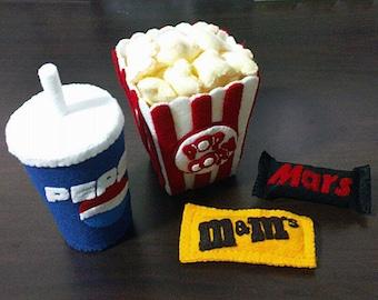 Felt Movies Set Popcorn Cola Patterns and Tutorials PDF Sewing Patterns (Instant Download)
