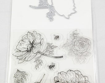 7 Clear Stamps and Cutting Die Flower card making embelishments
