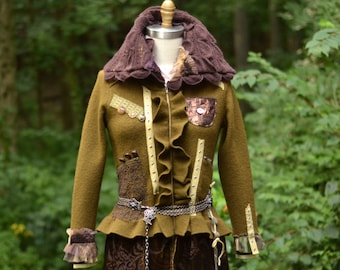 Brown Military style steampunk sweater COAT, boho refashioned OOAK fantasy outerwear, up cycled sweaters art to wear.Size S/M. Ready to ship