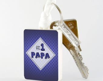 """Wooden """"#1 Dad"""" key blue"""