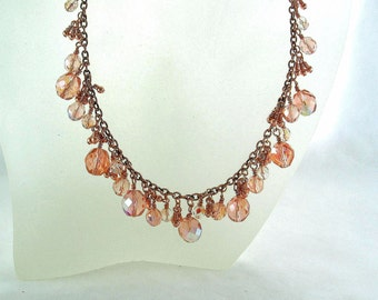 Blush-Pink-Crystal Dream-Czech-Glass-Copper-Necklace