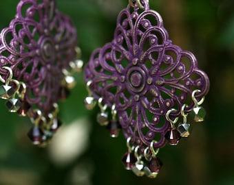Purple Chandelier Earrings, Chandelier Filigree Earrings, Chandelier Crystal Earrings, Gift For Her, Silver Earrings, Purple Earrings