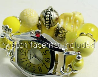 Sunshine Day.. Bright Yellow Chunky Glass and Acrylic Interchangeable Beaded Watch Band, Bracelet Watch