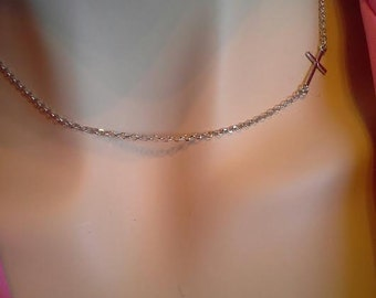 Sterling Silver, Sideways, Cross, necklace, women's, Pendant