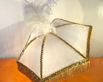 Second Line Umbrella White with Gold Fringe and Tall Ostrich Feathers