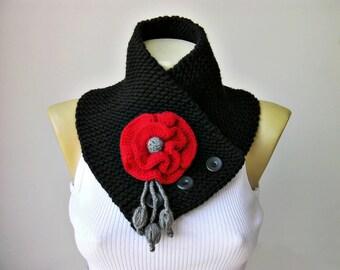 Neckwarmer Crochet scarf   ,scarf, woman scarf gift  crochet scarf  black ,crochet scarf