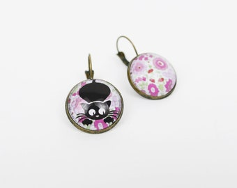 Cat and flowers earrings