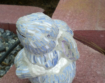 Gray and White Stained Glass Mosaic Little 3-D Bunny