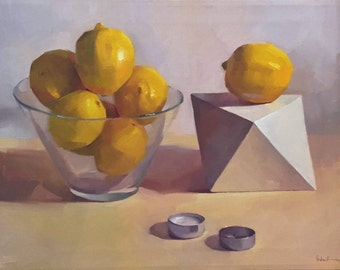 """Famed art painting lemon still life """"Burnt Out"""" orignial oil on canvas by Sarah Sedwick"""