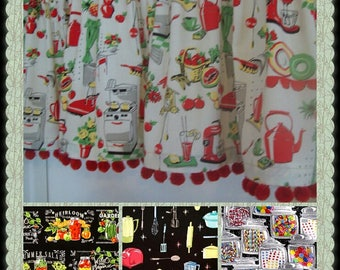 Custom-made valances, panels, tiers swags - you choose size -lined or unlined -Rod pocket or grommets - Red Pom Poms Vintage Fiesta colors