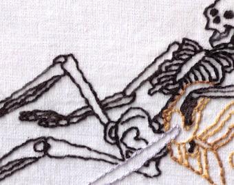 Skeleton Hand Embroidery Pattern, Treasure, Bones, Dead, Chest, Pirate, PDF