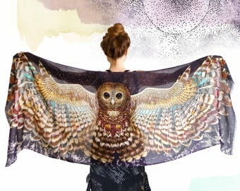 Owl Scarf, Silk Scarf, Owl Shawl, Mothers Day Gift, Cashmere Scarf, Women Scarf, Women Shawl, Wings Wrap, Birds Scarf, Owl Feather Scarf