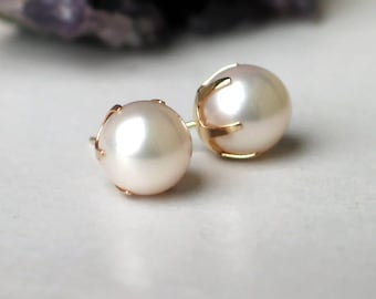 14k Pearl Studs | Large 9mm White Japanese Akoya Saltwater Pearls | Vintage Style | 14k Gold Prong Set | June Birthstone Gift Ready to Ship