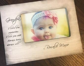 Grandpa/Grandma Picture Frame From Grandchild Green Stripe Gift 4x6