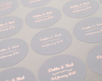 Grey Wedding Stickers, Foil Wedding Stickers, Grey Personalised Stickers, Wedding Favor Labels, Custom Wedding Stickers, Envelope seals, D1