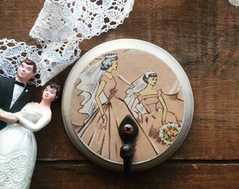 Cottage Chic Wall Hook, Retro Bride Wall Hanger, Jewelry Holder, Necklace Organizer, Upcycled Home Decor
