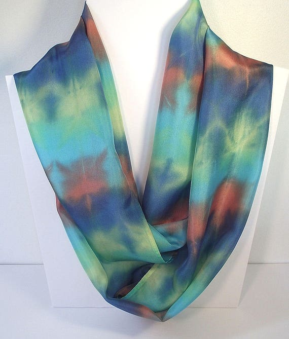 """Hand Dyed Silk Infinity Scarf - 11 x 76"""", Turquoise, Yellow, Terracotta, Roayl Blue-Long Infinity Loop"""