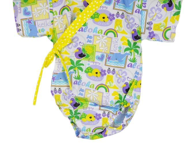 Baby Kimono - ALOHA  - modern kimono baby toddler japanese jinbei unisex - kimono onesie