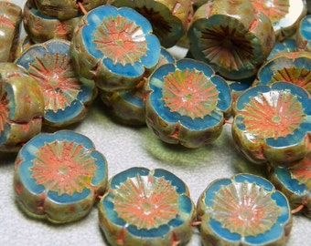 Czech Aqua & Picasso 15mm Flat Flower Glass Beads (10) 0584-P