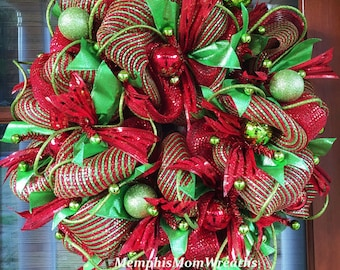 Christmas Wreath, Deco Mesh Wreath, Deco Mesh Christmas Wreath, Red and Lime Green Wreath, Holiday Wreath, Christmas Decor, Holiday Decor