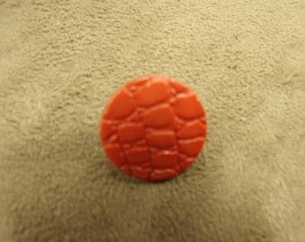 orange button - acrylic-17 mm crocodile pattern