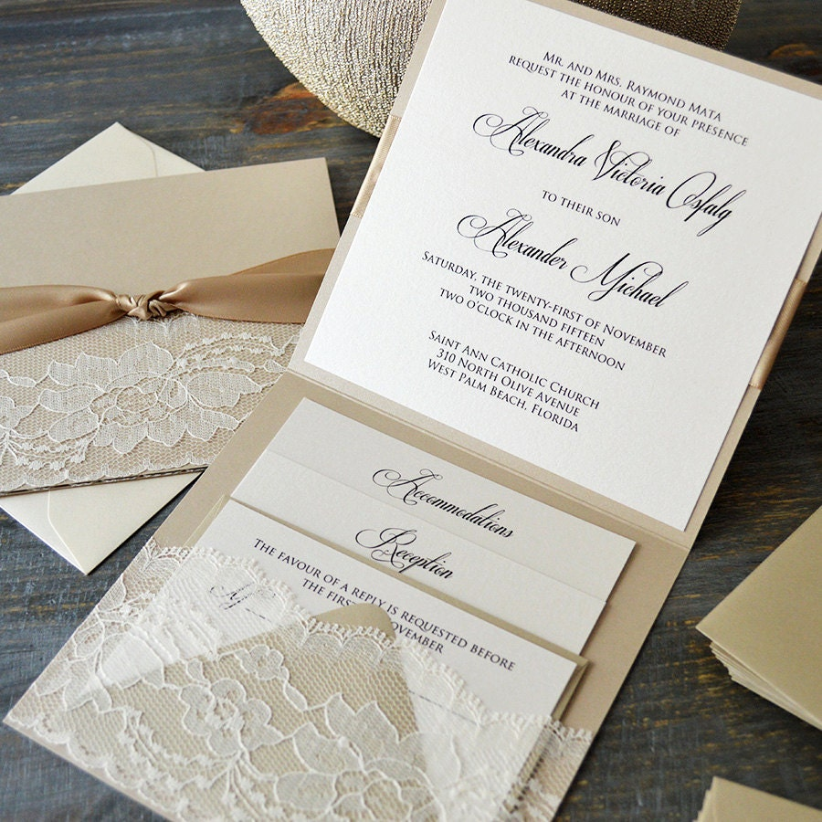 Wedding Invitations With Lace: Lace Pocket Wedding Invitation- Beige Sand And