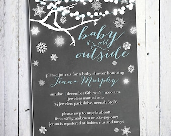 Baby it's cold outside - baby shower invitation - DIY - PRINT YOURSELF or purchase prints