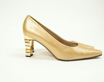 Proxy ~ 80s ~ Gold Pumps with Silver, Gold and Bronze Plated Heel Detail ~ Size 9 1/2 M