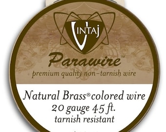 ANTIQUED BRASS 20g Wire Vintaj Parawire Non-Tarnish Oxidized Brass Ox Color DIY Jewelry Supplies Spool Craft 20 Gauge Qty 1 roll (45 feet)