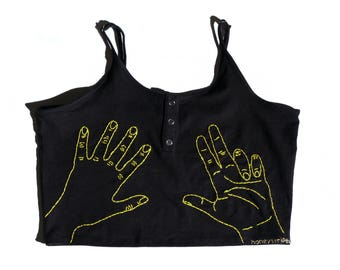 "The ""Hand"" embroidered crop top"