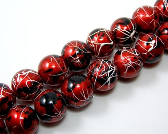 Set of 5 glass drawbench carmine red color 12 mm beads