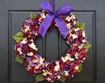 Purple, Cream and Burgundy Red Marbled Faux Hydrangea Wreath with Bow for Late Summer Fall Front Door Porch Decor; Small - Extra Large Sizes