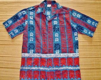 Mens Vintage 60s Barefoot in Paradise Hawaiian Tiki Idol Surf Shirt - M - The Hana Shirt Co