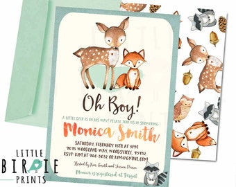 WOODLAND Baby shower invitation Deer Fox Baby Shower invitation OH BOY Baby shower invitation Woodland baby shower Watercolor invitation boy
