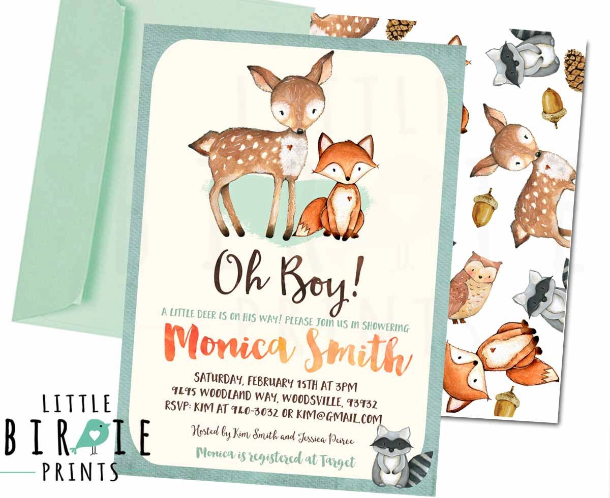 Woodland Baby Shower Invitation Deer Fox Show On Free Printable