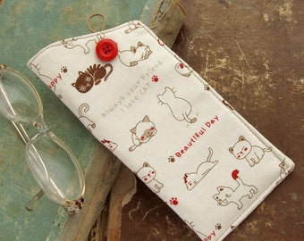 Cat Eyeglass Case, Brown Kitten Kawaii, Made to order