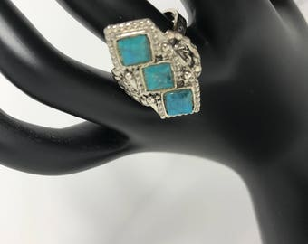 Vintage | Faux Turquoise Ring | Silver Tone