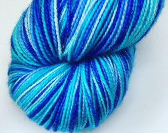 Self striping sparkly sock yarn - 100g merino and nylon 4 ply yarn - hand dyed stripy yarn