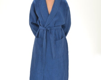 Linen Bath Robe Mens/ Luxury Pure Linen Oversize Robe With Shawl Collar For Men/ Organic Spa Robe Mens/Linen Gift For Him